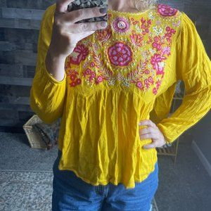 Altar'd State Yellow Pink Open Side Boho Top